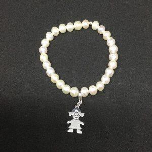 Pulsera de perlas de cultivo y plata